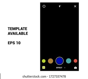 Instagram stories browse effects, face filter camera interface photo frame design social media network post template. Stories interface display of mobile application. Vector mock up illustration