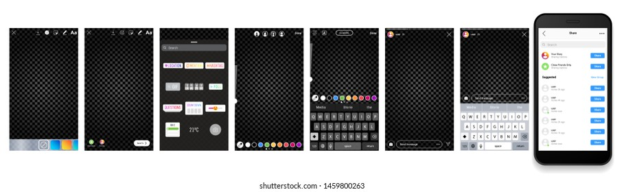 Instagram stories camera interface photo frame design social media network post template. Stories interface display of mobile application. Vector mock up illustration