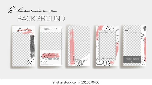 Instagram stories frame templates. Vector background. Mockup for social media banner. white and grey abstract collage layout design.