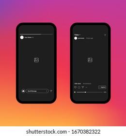 Instagram Stories. IGTV. Instagram Frame. Instagram Interface. Vector Illustration On Gradient Background