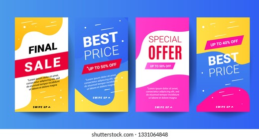 Instagram stories sale banner backgrounds. Decorative editable templates for social media stories