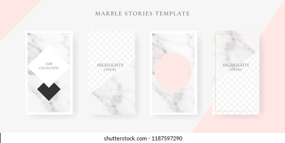 Instagram stories sale banner with Marble and luxury decorative style background Vector Illustration