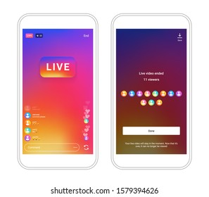 Instagram stories screen live stream camera interface photo frame design social media network post template. Stories interface display of mobile application. Vector mock up illustration