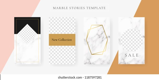 instagram Stories template with Marble and luxury decorative style background Vector Illustration