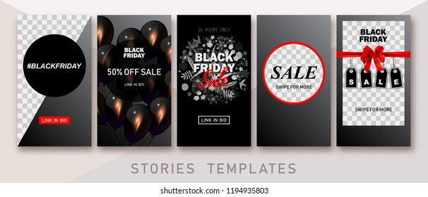 Instagram Stories templates. Clean & Modern. Black Friday sale. Instagram backgrounds. These templates are ideal for fashion, lifestyle and travelling bloggers, boutiques' owners, photographers