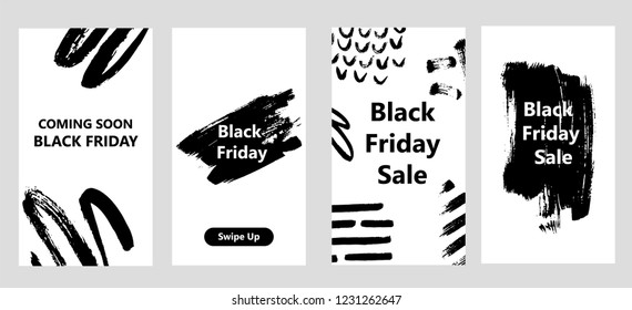 Instagram Stories Templates dedicated to Black Friday. Can be used for intagram promotion. Hand drawn strokes.