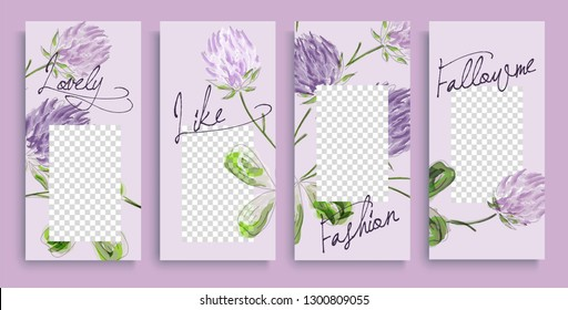 Instagram stories templates with floral pattern, vector illustration. Design backgrounds for social media story.  instagram highlight covers. Insta fashion.