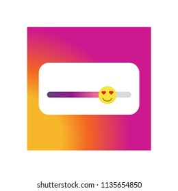 Instagram story rate slide with smile icon vector icon. Simple element illustration. Instagram story rate slider smile symbol design. Can be used for web and mobile.