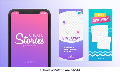 Instagram story template theme Giveaway. Stories template for social media. Create Stories. Editable story cover design for photos. Isolated vector illustration.