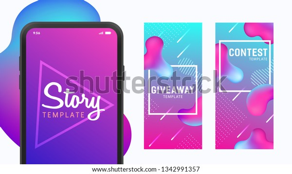 Instagram Story Template Theme Giveaway Story Stock Vector
