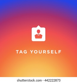 Instagram Tag Icon Vector, Social Media, Insta sign, Friend symbol, Background Gradient, Logo, EPS, Hashtag design