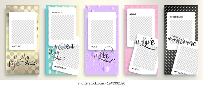 Instagram templates stories, vector illustration. Design backgrounds for social media stories, Instagram story. IG streaming. insta story covers. polka dots pattern
