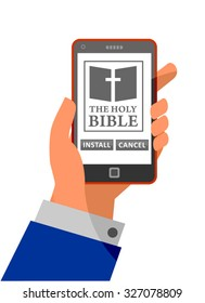 Install and cancel button illustration. Bible application about to install on smartphone. Installation process with install and cancel options. Making choices in life metaphor