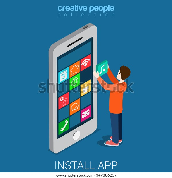 Install Download Get Mobile App Flat Stock Vector (Royalty