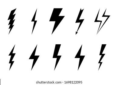 Install Lightning. Modern flat style vector illustration. Lightning bolt Lightning flash icon set. Flat style on a dark background. Vector