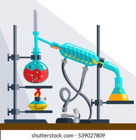 Installation for the distillation and purification of liquids. Distillation is due to different temperature boiling liquids. Illustration Vector
