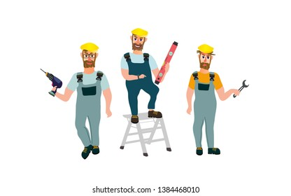 Installation workers, builders, engineers in different poses and work: with a puncher, on the ladder ladder, with a wrench. Kind, cheerful, angry.