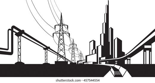 Installations for supply of energy sources - vector illustration