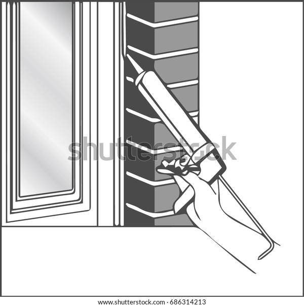 Installing Silicone Sealant On Window Stock Vector (Royalty Free