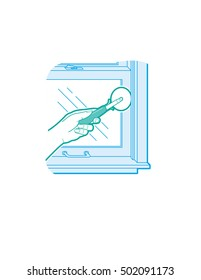Installing window weatherstripping.