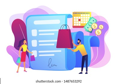 Installment purchase offer, shopping business, convenient customer service. Deferment of payment, net payment terms, buy now pay later concept. Bright vibrant violet vector isolated illustration