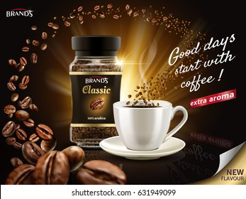 instant arabica coffee ad, surrounded by countless coffee bean elements, 3d illustration