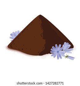 Instant chicory root roasted powder, and fresh chicory flowers. Natural source of inulin, healthy substitute of coffee. Isolated vector on white background