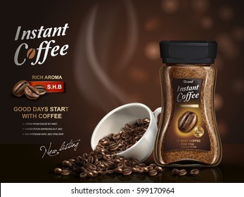 instant coffee ad, with coffee bean elements, bokeh background, 3d illustration