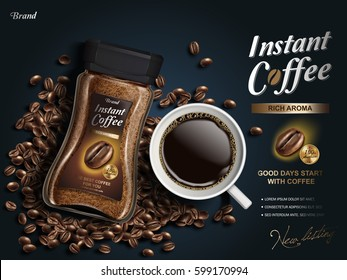 instant coffee ad, with coffee bean elements, navy blue background, 3d illustration