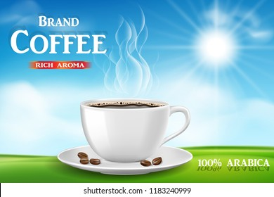 Instant coffee ad, with coffee cup on sunny morning and green grass background, Product black coffee design with bokeh. 3d illustration