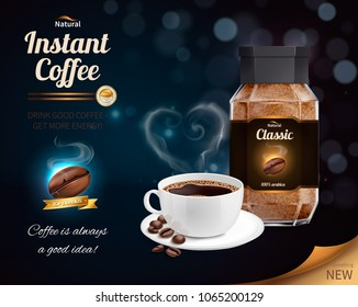 Instant coffee advertisement realistic composition with cup of good black coffee giving more energy vector illustration