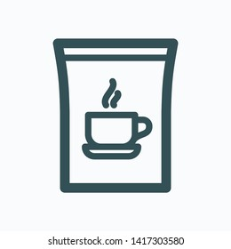 Instant coffee isolated icon, classic instant coffee in plastic bag linear vector icon