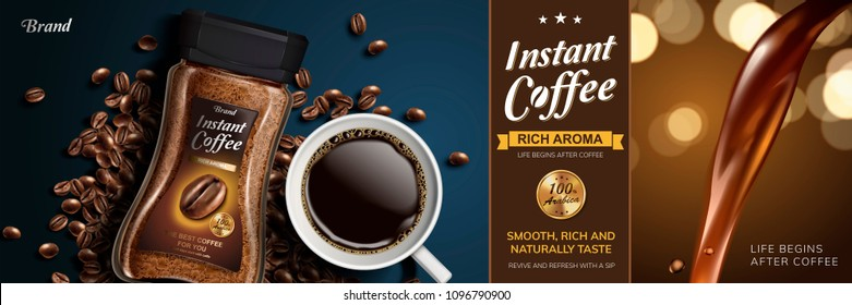 Instant coffee with liquid pouring down and top view of black coffee and beans