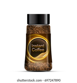 Instant coffee package design. Transparent glass bottle. Vector template