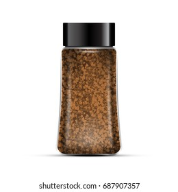 Instant coffee package template. Transparent glass bottle. Isolated on white