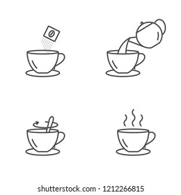 Instant coffee preparing vector icons