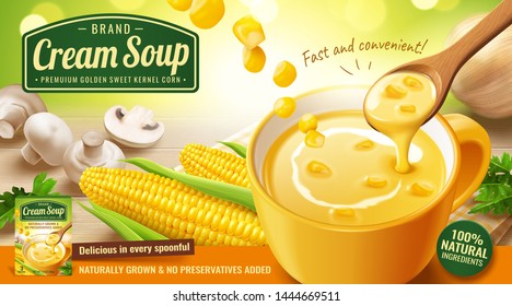 Instant corn cream soup ads with mushroom and onion on wooden table in 3d illustration