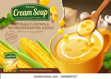 Instant corn cream soup ads with fresh corncob on kraft paper background in 3d illustration