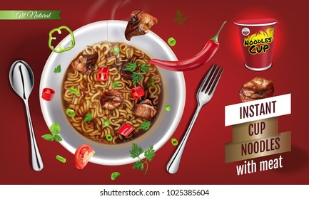 Instant cup noodles with meat. Vector isolated illustration of chinese and taiwan noodle. Japanese ramen fast food. Pasta and spaghetti eating. Realistic cup of asian noodle on red background.