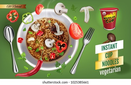 Instant cup noodles vegetarian. Vector isolated illustration of chinese and taiwan noodle. Japanese ramen fast food. Pasta and spaghetti eating. Realistic cup of asian noodle on green background.