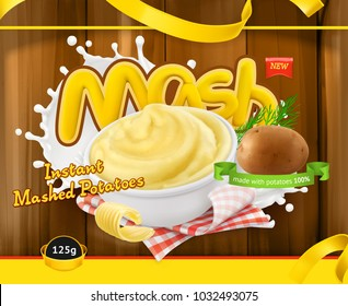Instant mashed potatoes. Design packaging 3d vector template