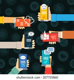 instant messenger chat communication, hand with mobile phones vector concept