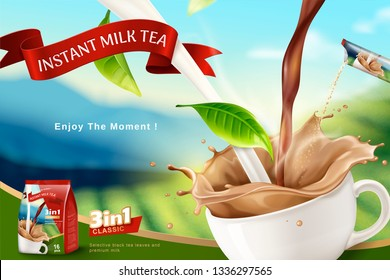 Instant milk tea ads with bokeh terraced field background, 3d illustration