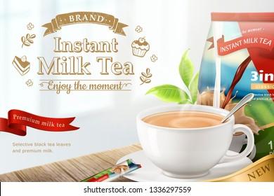 Instant milk tea on wooden table background in 3d illustration