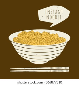 Instant noodle in the bowl. Hand drawn vector illustration