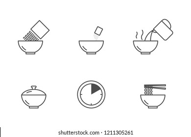 Instant noodle cooking vector icons