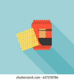 instant noodle icon, flat design vector
