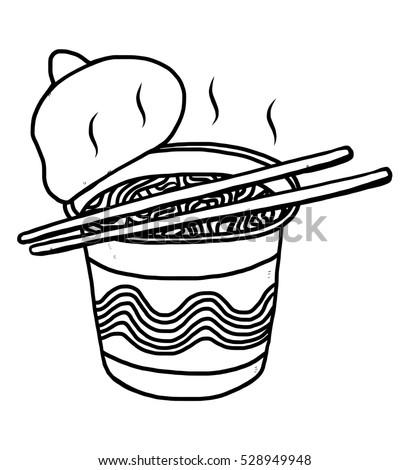 Instant Noodles Cartoon Vector Illustration Black Stock