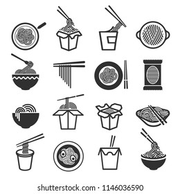 Instant noodles icon set. Precooked and dried noodle blocks, fast street delicious treat in a box. Vector fast food line art illustration