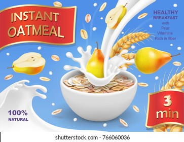 Instant oatmeal with pear ad Milk flowing into a bowl with grain and pear Vector